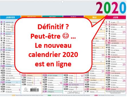 Annonce nouveau calendrier 2020