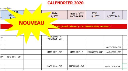 Nouveau calendrier 2020