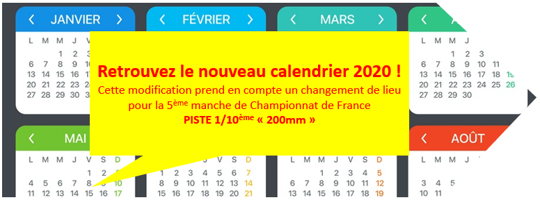 Modification calendrier 2020